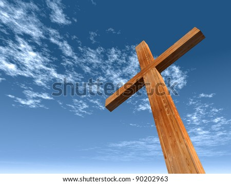 High Resolution Christian Cross Made Of Wood Over A