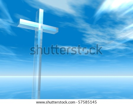 High resolution Christian cross over a beautiful sky