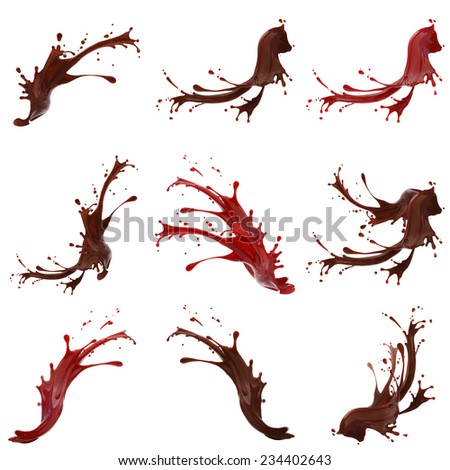 High resolution coffe and red paint splashes collection isolated on white background