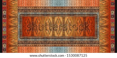 High Resolution. Colorful Digital And Textile Paisley with Floral Border Print Design - #1530087125