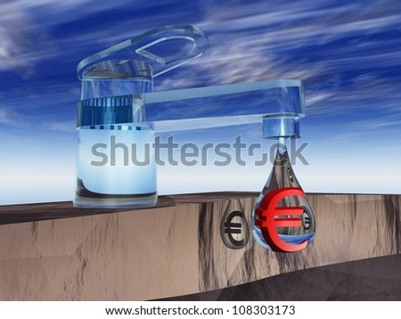 High resolution concept or conceptual abstract tap with a drop falling over blue sky background as a metaphor for money,euro,crisis,finance,economy,waste,banking,business,loss,source,wealth or rich - stock photo