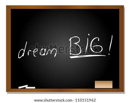 High resolution concept or conceptual black blackboard with wood frame isolated on white background with white chalk text message for motivation positive big education goal success something or dream
