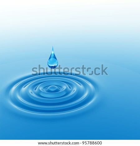 High resolution concept or conceptual blue liquid drop falling in water with ripples and waves, ideal for nature,natural,summer,spa,cool,business,environment or health design