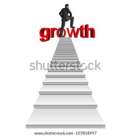 High resolution concept or conceptual businessman in top of white stair over red 3d growth text isolated on white background,for business,man,money, progress,achievement,wealth,market or improvement