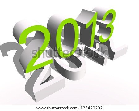 High resolution concept or conceptual 3D green 2013 year isolated on white background as metaphor to holiday,symbol,Chri stmas,calendar,happ y,eve,December,Janu ary,time,season,new  year or winter graphic - stock photo