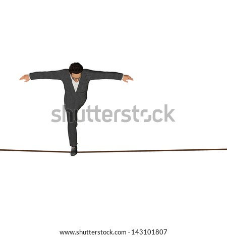 High resolution concept or conceptual 3D human male or businessman walking on rope isolated on white background as metaphor to balance,danger,risk,success,dangerous,equilibrium,acrobat,courage or job