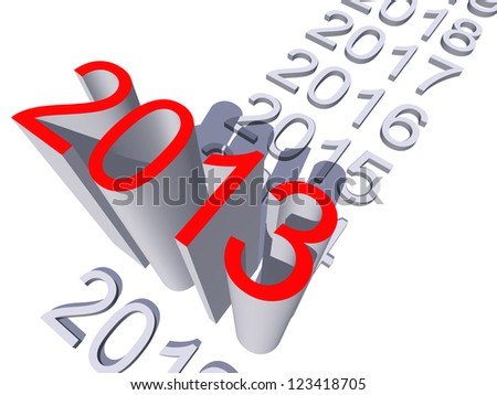 High resolution concept or conceptual 3D red 2013 year isolated on white background a s metaphor to holiday,symbol,Christmas,calendar,happy,eve,December,January,time,season,new year or winter graphic