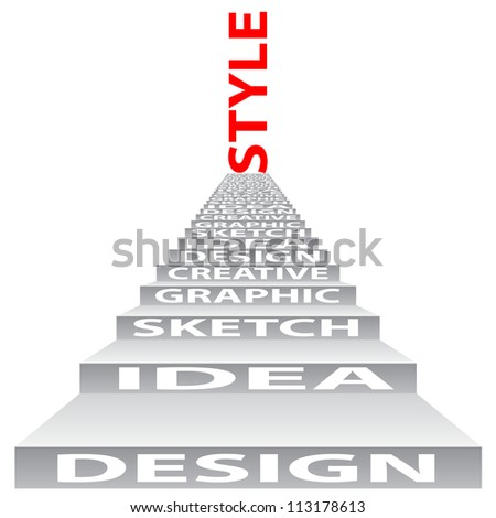 High resolution concept or conceptual 3D stair or steps isolated on white background as metaphor for design,graphic,hand ,child,young,idea,style,creative,fashion,artist,art,decor abstract project