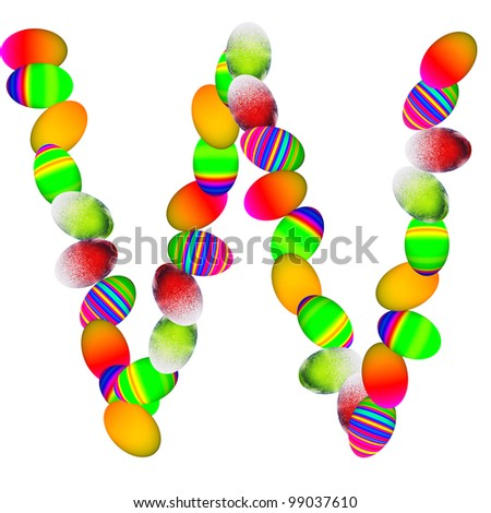High resolution concept or conceptual font made of colorful Easter eggs isolated on white background,for spring,holiday,art,fun,festive,happy,cute,funny,celebration,religion,ornament or faith designs