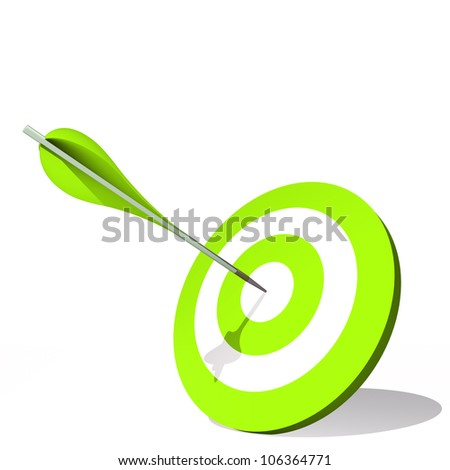 High resolution concept or conceptual green dart target board with an arrow in center isolated on white background,as success,competition ,business,game,achievement,win,perfect ion,strategy or focus