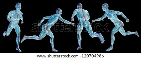High resolution concept or conceptual human or man 3D anatomy body with muscle isolated on black background