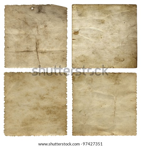 High resolution concept or conceptual old vintage paper backgrounds set or collection isolated on white, ideal for antique,grunge,texture,retro,aged,ancient,dirty,frame,manuscript or material designs
