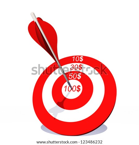 High resolution concept or conceptual red target with dollar and an arrow in center isolated on white background as metaphor to money,business,success,competition,goal,achievement,dart,luck or win