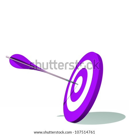 High resolution concept or conceptual violet dart target board with an arrow in center isolated on white background,as success,competition ,business,game,achievement,win,perfect ion,strategy or focus