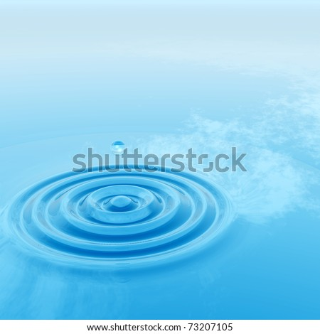 High resolution conceptual blue water drop falling in a clear water surface generating a natural background