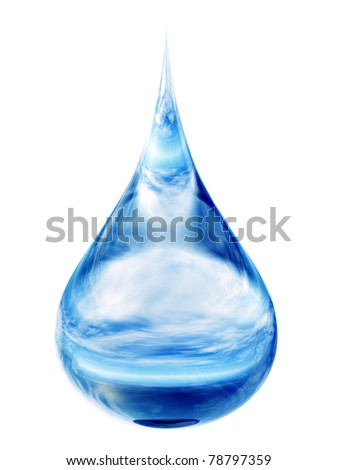 High resolution conceptual blue water drop falling isolated on white background - stock photo