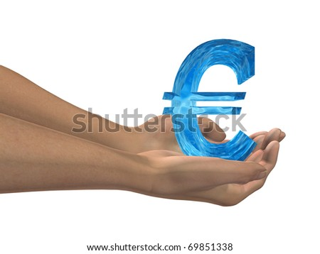High resolution conceptual 3D blue water symbol held in hands isolated on white background