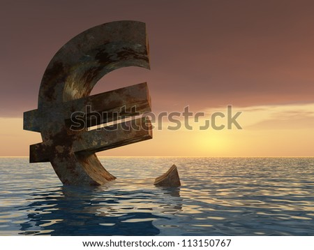High resolution conceptual 3D currency euro sign or symbol sinking in water,sea or ocean as a concept for European crisis. It is a metaphor for financial,banking, economy,problem,dan  ger at sunset - stock photo
