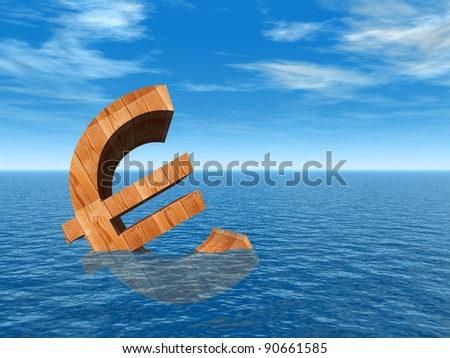 High resolution conceptual 3D currency euro sign or symbol sinking in water,sea or ocean as a concept for European crisis. It is a metaphor for financial,banking, economy,problem,dan ger or risk design - stock photo