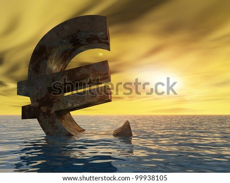 High resolution conceptual 3D currency euro sign or symbol sinking in water,sea or ocean as a concept for European crisis. It is a metaphor for financial,banking, economy,problem,danger at sunset