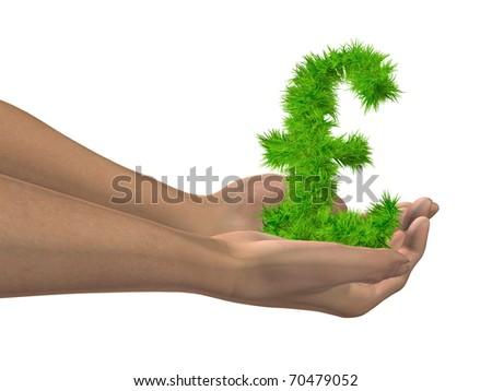 High resolution conceptual 3D grass symbol held in hands isolated on white background