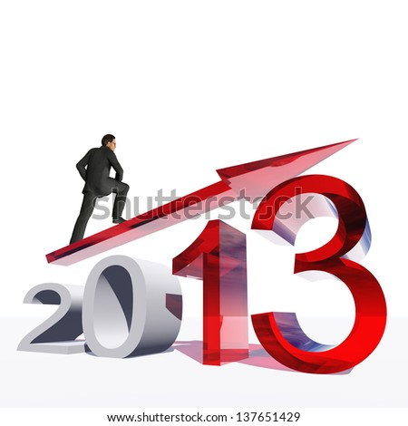 High resolution conceptual 3D 2013 year with a growing arrow isolated on white background with a business man surfing. A metaphor for economy, finance, progress,success,improvement,profit designs.