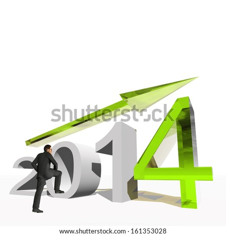 High resolution conceptual 3D 2014 year with a growing arrow isolated on white background with a business man. It is a metaphor for economy, finance, progress,success,improvement,profit designs. - stock photo