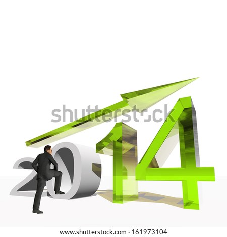 High resolution conceptual 3D 2014 year with a growing arrow isolated on white background with a business man. It is a metaphor for economy, finance, progress,success,improvement,profit designs.