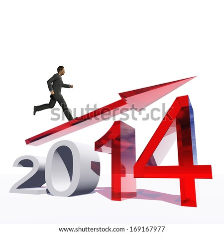 High resolution conceptual 3D 2014 year with a growing arrow isolated on white background with a business man surfing. A metaphor for economy, finance, progress,success,improvement,profit designs.