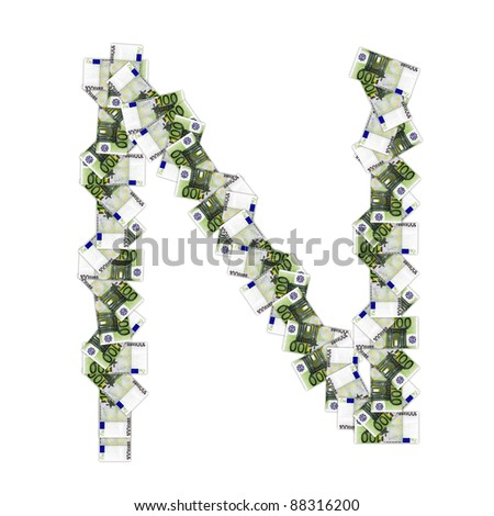 High resolution conceptual font made of euro banknotes isolated on white background, ideal for business, currency, money and other financial concepts.