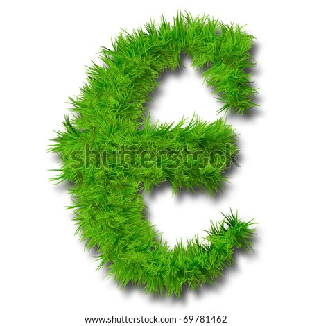 High resolution conceptual grass symbol isolated on white