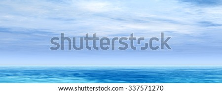 High resolution conceptual sea or ocean water waves and sky cloudscape exotic or paradise background banner metaphor to nature, peace, summer, travel, tropical, tourism, environment, vacation holiday #337571270