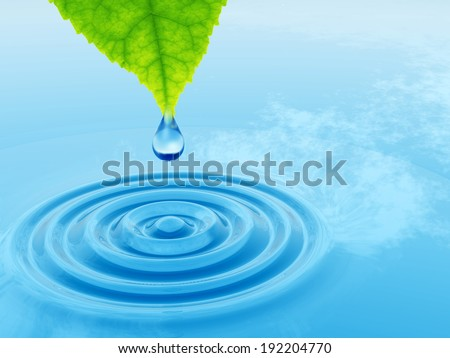 High resolution conceptual water or dew drop falling from a green fresh leaf on a blue clear water making waves, a concept ideal for summer, spring, nature or natural designs and also for ecology
