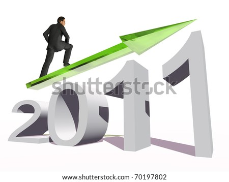 High resolution conceptual 2011 year as a graphic with a 3D businessman surfing on the arrow. The man is a render of a virtual 3D model.