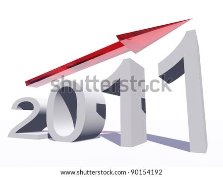 High resolution conceptual 2012 year as a graphic with an arrow isolated on white background