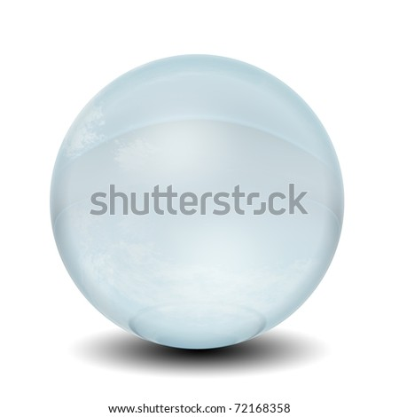 High resolution 3D blue glass sphere isolated on white background ideal as a web button