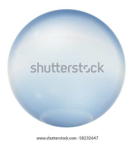 High resolution 3D blue glass sphere isolated on white ideal as a web button