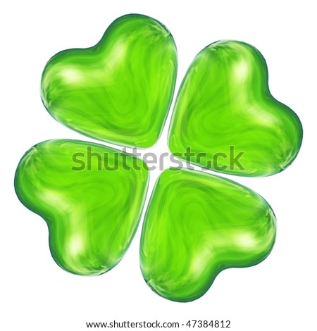 High resolution 3D green heart as clover isolated on white background ...