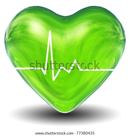 High resolution 3D green heart isolated on white background, ideal for, love or medical designs