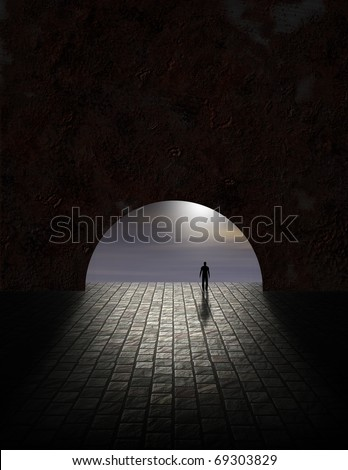 High Resolution 3D Illustration Mystery Man in Tunnel
