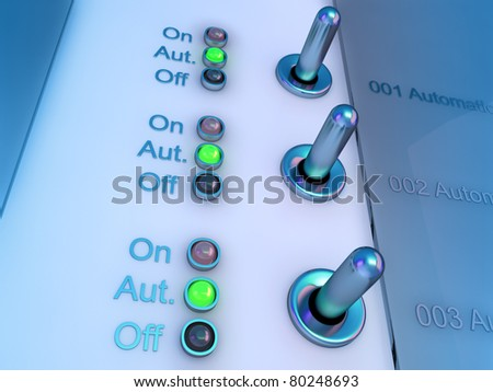High resolution 3d render of an control panel in colorful lighting / control panel switches