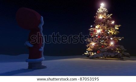 High resolution 3D render of an / Illuminated and decorated Christmas tree in snow with small girl in red dress