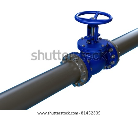 High resolution 3d render of an / Pipeline and stop Valve / isolated on white