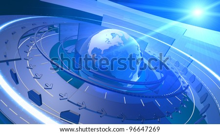 High resolution 3D render of Earth globe with abstract shapes rotating around, communication links streaming out from various orbits, lens flare in the background.