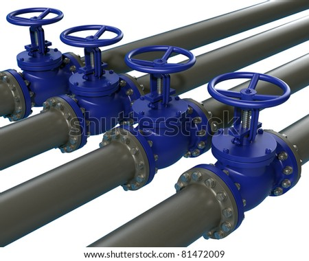 High resolution 3d render of four / Pipeline and stop Valve / isolated on white