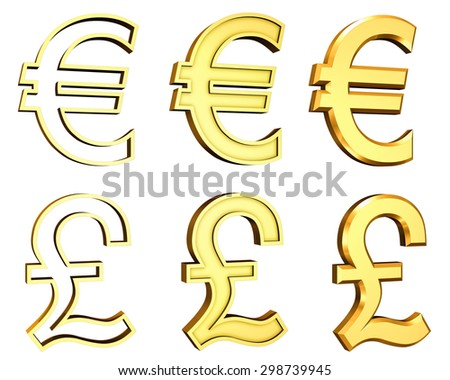 High Resolution 3d Render Of Golden Pound And Euro Currencies