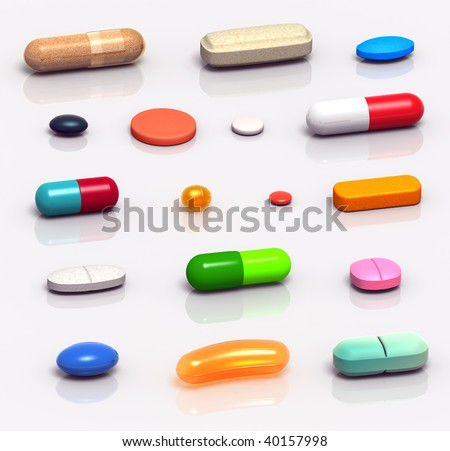 High resolution 3D rendered set of medicine pills, tablets, gels and capsules, in various shapes and colors