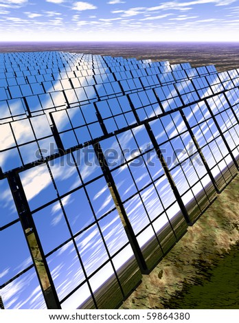 High resolution 3D rendered solar panel farm in desert - generating power with reflections of the scene around - an English-type countryside