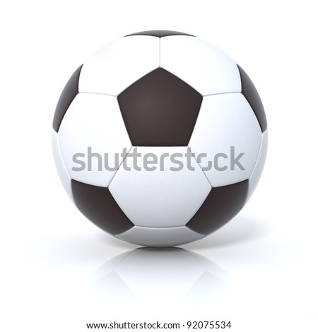 High-resolution 3d rendering, Leather soccer ball with clipping path - stock photo