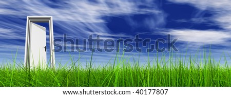 High resolution 3D white door opened in grass to a nice sky background with white clouds